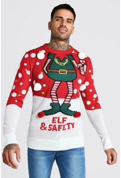 Mens Red Elf & Safety Christmas Jumper
