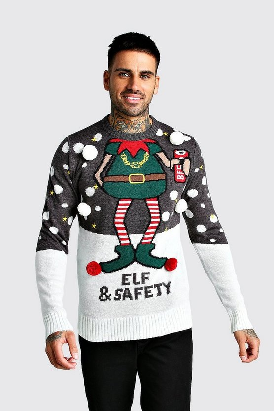 Charcoal Elf & Safety Christmas Jumper