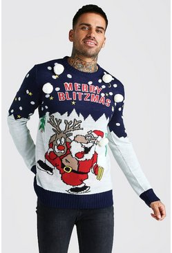 Merry Blitzmas Christmas Jumper, Navy, Uomo
