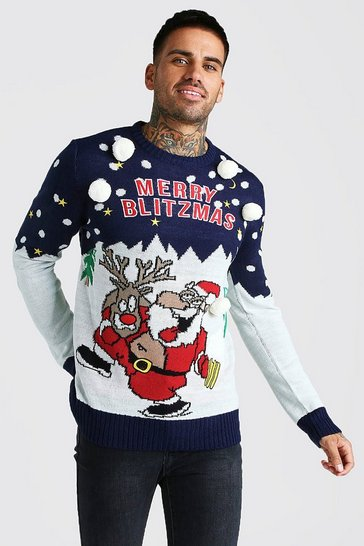 Navy Merry Blitzmas Christmas Jumper