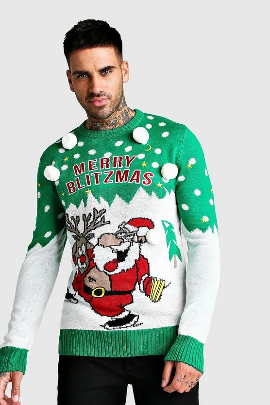 Mens Green Merry Blitzmas Christmas Jumper