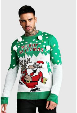 Merry Blitzmas Christmas Jumper, Green, HERREN