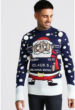 3D Mug Shot Claus Christmas Jumper, Navy, HERREN