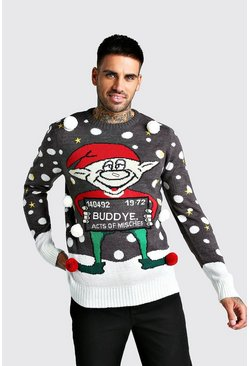 3D Mug Shot Elf Christmas Jumper, Charcoal, Uomo