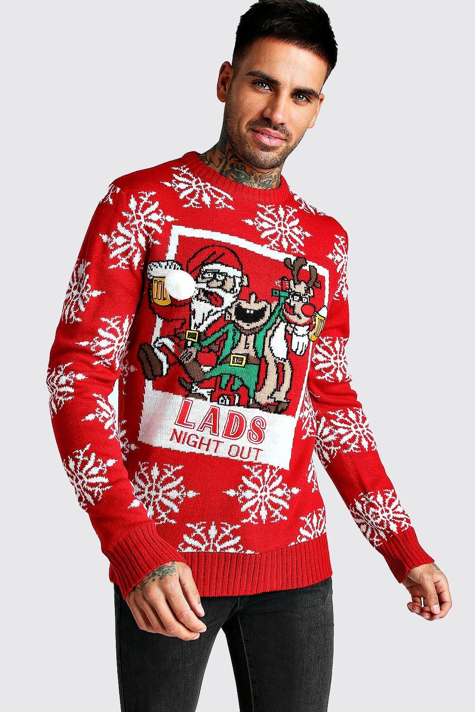Купить со скидкой 3D Lads Night Out Christmas Jumper