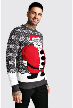 3D Santa Fairisle Christmas Jumper, Charcoal, Uomo