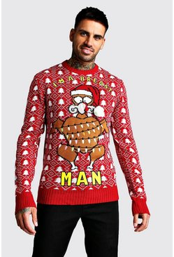 Im A Breast Man Christmas Jumper, Red, Uomo