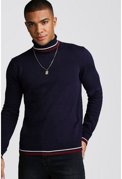 Roll Neck Jumper With Tipping, Navy, HERREN