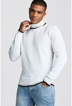 Roll Neck Jumper With Tipping, White, HERREN