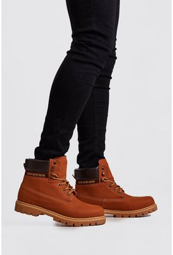 Herr Tan Padded Collar Mid Length Hiker Boot
