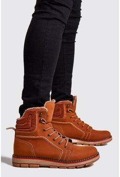 Mens Tan Faux Fur Lined Hiker Boot