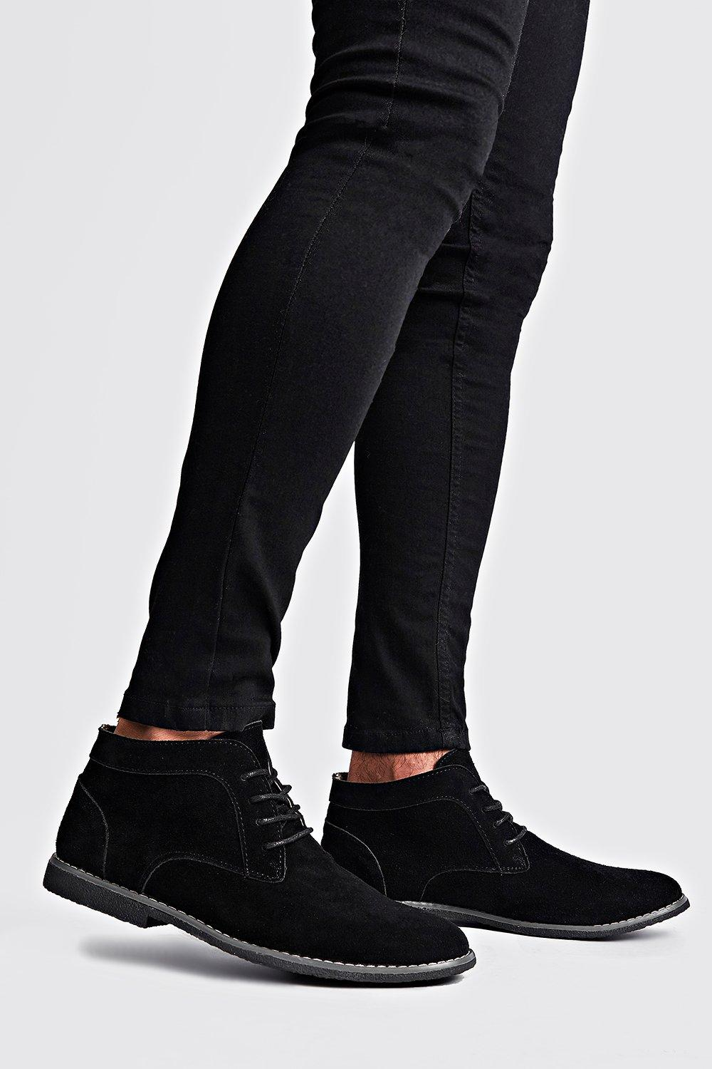 mens real suede desert boots - black