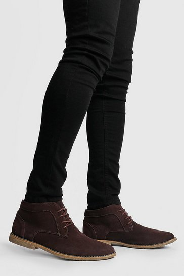 Brown Real Suede Desert Boots