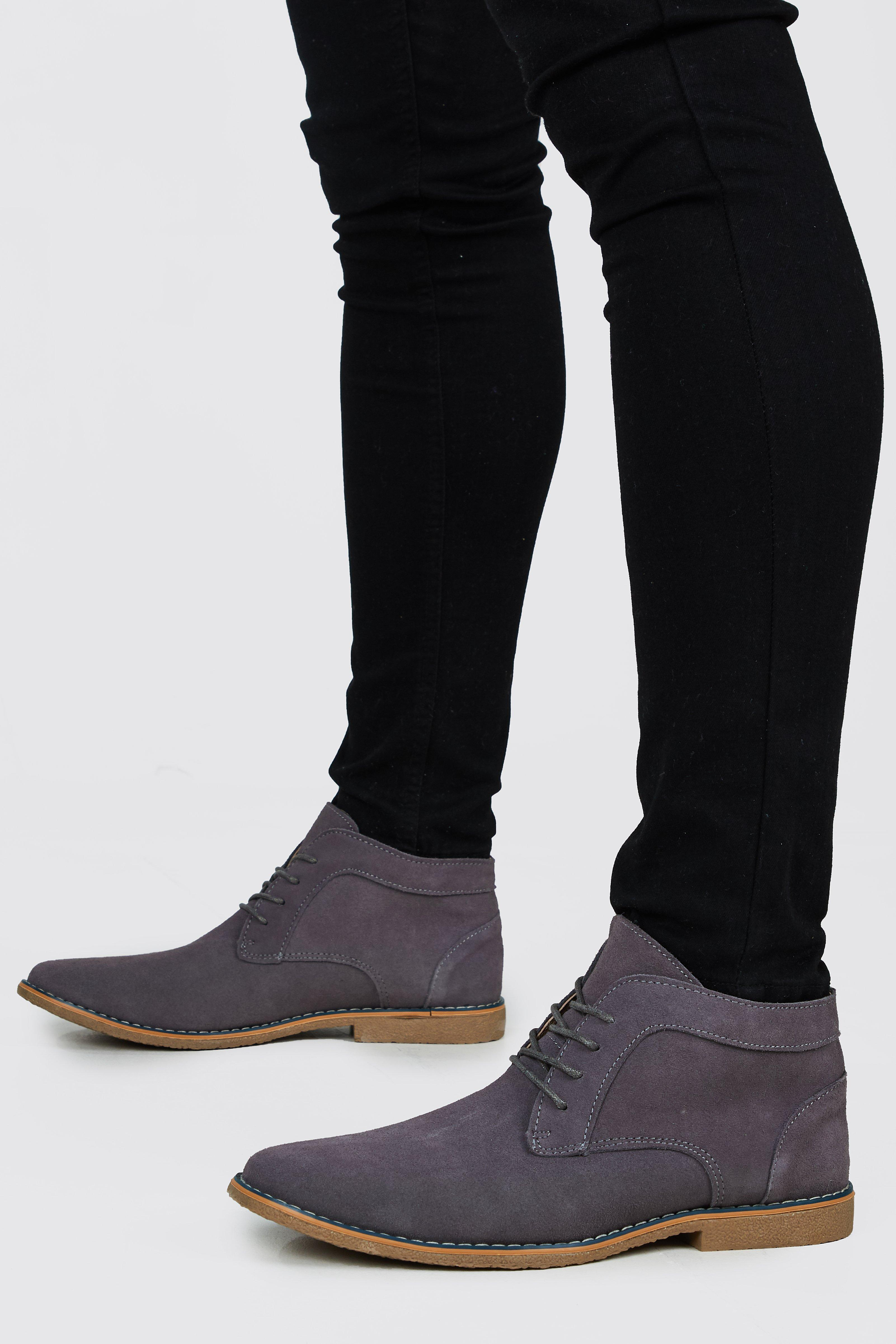mens real suede desert boots - grey