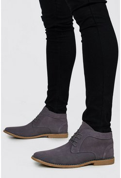 Mens Grey Real Suede Desert Boots