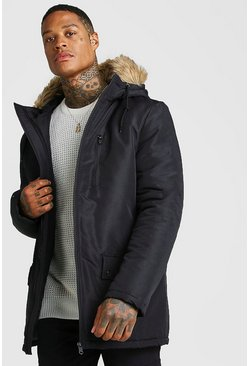 Zip Through Faux Fur Hood Parka, Black, HOMMES