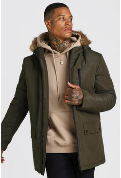 Mens Khaki Zip Through Faux Fur Hood Parka