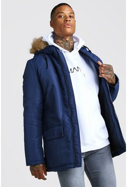 Mens Navy Zip Through Faux Fur Hood Parka
