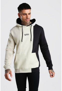 Stone Original MAN Colour Block Panelled Hoodie