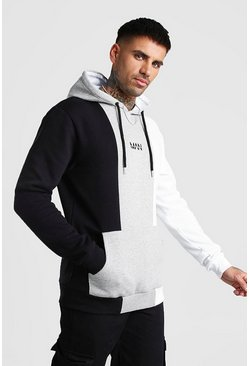Original MAN Colour Block Panelled Hoodie, Grey