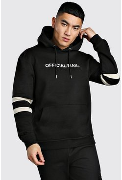 MAN Official Colour Block Hoodie, Black