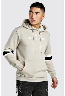 MAN Official Colour Block Hoodie, Stone