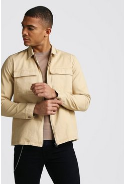 Long Sleeve Zip Through Twill Pocket Overshirt, Tan