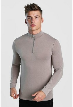 Taupe Half Zip Funnel Neck Jumper