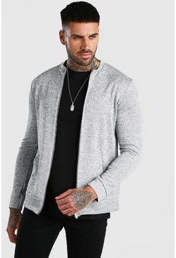 Zip Through Smart Knitted Bomber, Grey