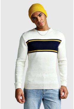 Mens Ecru Muscle Fit Colour Block Jumper