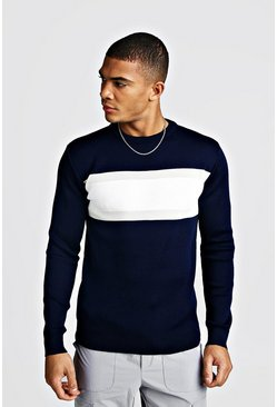 Mens Navy Muscle Fit Colour Block Jumper