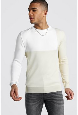 Herr Ecru Muscle Fit Colour Block Jumper