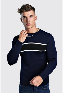 Mens Navy Smart Muscle Fit Colour Block Jumper