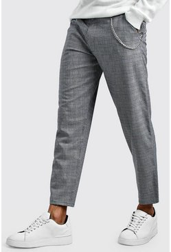 Mens Grey Smart Check Skinny Trouser With Chain