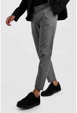 Black Smart Minicheck Trouser With Chain