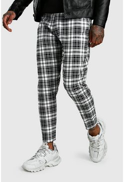 Black Smart Mono Tartan Pants