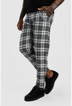 Black Smart Mono Tartan Pants With Chain