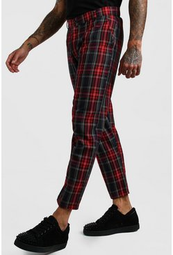 Mens Red Smart Cropped Tartan Trouser