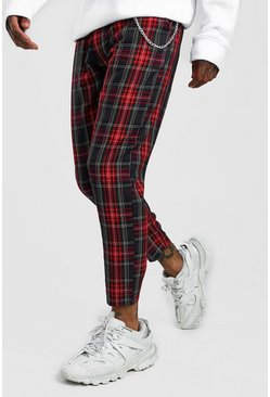 Mens Red Smart Cropped Tartan Trouser With Chain