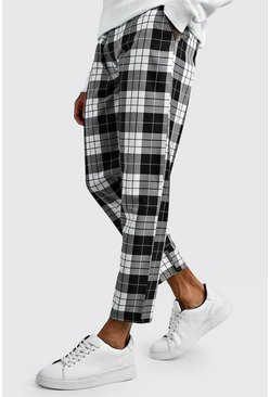 Black Tartan Cropped Smart Pants