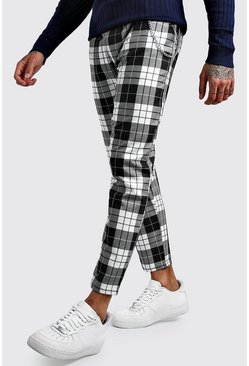 Tartan Cropped Smart Trouser With Chain, Black, HOMMES