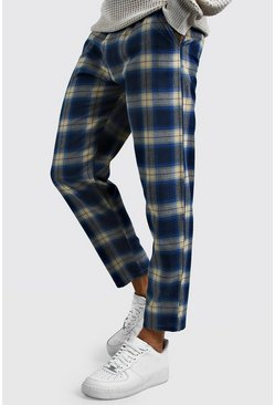 Blue Tartan Cropped Smart Trouser