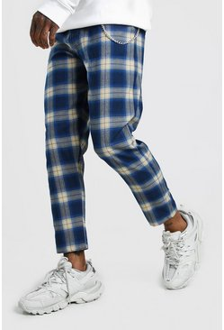 Mens Blue Tartan Cropped Smart Trouser With Chain