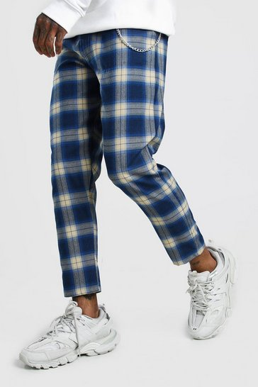 Blue Tartan Cropped Smart Trouser With Chain