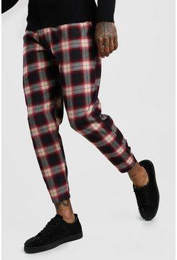 Black Tartan Smart Cropped Pants