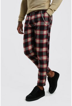 Mens Black Tartan Smart Cropped Trouser With Chain
