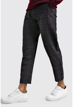 Blue Tartan Smart Cropped Pants