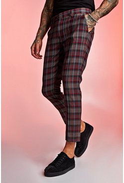 Tartan Skinny Fit Cropped Trouser, Red, HOMMES