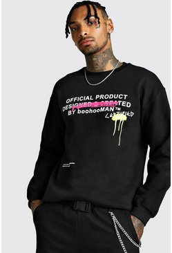 Black Certified Graffiti Print Sweatshirt