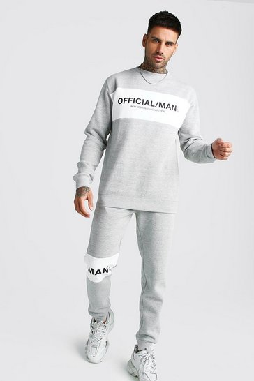Mens Grey marl Official MAN Colour Block Sweater Tracksuit